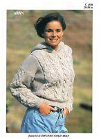 Aran knitting pattern ladies vintage pattern sweater, jumper, pullover, hooded,