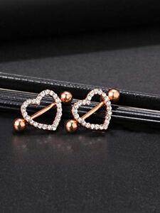 Rose Gold Heart Double Layer Rhinestone Sexy Piercing Nipple Bars Body Jewelry