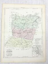 1881 Antique French Map Mayenne Laval France old Hand Coloured Engraving