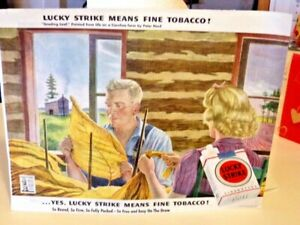 1940's Lucky Strike Cigarettes Full Color Advertisement 12in. X 24in. Exc. Cond.