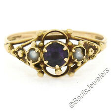 Antique Victorian Petite Beaded 14K Yellow Gold 0.30ctw Amethyst Pearl Band Ring
