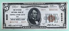 1929 $5. T2 The Citizens National Bank Of Tippecanoe City Ohio Oh Charter # 8839