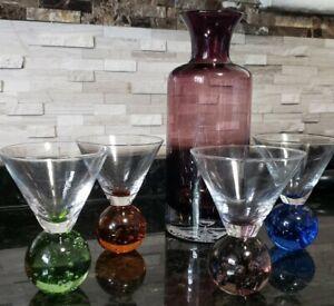 Vintage Purple pitcher & 4 colorful Bubble Ball Stemmed Martini glasses