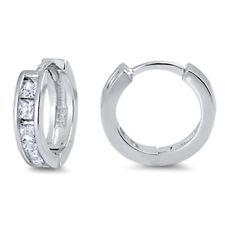 Cubic Zirconia Hoop Huggie  .925 Sterling Silver Earrings
