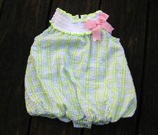 Rare Editions Seersucker Bubble Romper Baby Girl 3 Mos Pink Green Sun Suit
