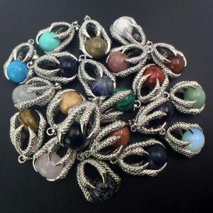 Natural Gemstones Round Ball Bead Silver Dragon's Claw Reiki Chakra Pendant DIY