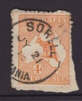 Tasmania SORELL 1914 postmark on 4d orange Kangaroo