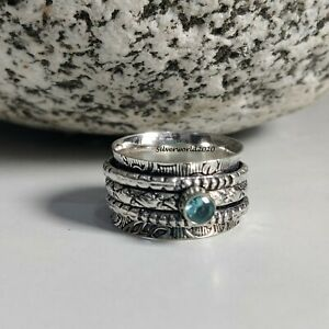 Blue Topaz Spinner Ring 925 Sterling Silver Plated Handmade Ring Size 7 at39