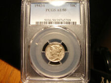 1942/1 10C Mercury Dime PCGS AU 50 Overate Variety Coin, as pictured.