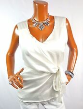 NEW YORK & CO Womens Top L Off White Shirt Stretch Blouse Sleeveless Casual