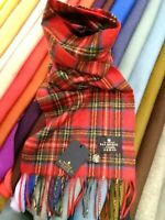 100% Pure Cashmere Scarf | The House of Balmoral | Royal Stewart | Bright Tartan