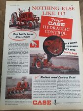 1949 CASE red tractor plowing field hydraulic control agriculture ad