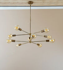 Modern Brass 10 Arms Sputnik Chandelier - Industrial Hanging Light Lighting