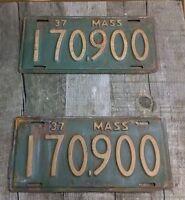 PAIR 1937 Antique MASS Automobile License Plate Rat Rod Truck Patina Wow...