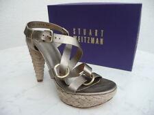 Stuart Weitzman Size 40 Platform Ankle-Strap Sandal Heels Shoes Platinum New