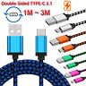 1M/2M/3M Braided Type C Charger Data Cable For Samsung Galaxy A8 2018 S9 S8 Lot