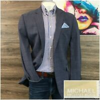 Michael Kors Mens Sport Coat Blazer Mens Size 42L Two Button Wool Jacket Plaid