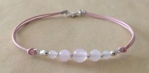 Graduated ROSE QUARTZ Beads, Leather Cord, Silver Plated, Friendship Bracelet