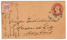 1LB7 CARRIER on U10 PSE Cover BLUE 1859 Baltimore MARYLAND cds to Frederick City