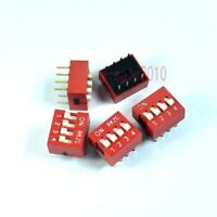 10pcs 2.54mm Pitch 8 Terminals 4 Positions Ways Slide Type DIP Switch Red 4-Bit