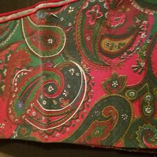"""Cloth Napkins Set of 4 16"""" x 16""""  Red Paisley Flowers Green White Blue"""