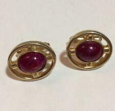 RARE Vintage Red Stone Cabochon Cufflinks