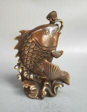 Chinese pure brass carp Play water crafts statue
