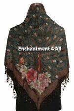 Stunning Handmade Beaded Triangular 100% Silk Velvet PEACOCK Scarf, Brown