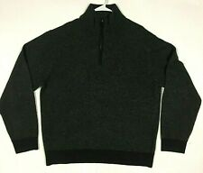 Lincs David Chu XL Men's Grey Merino Wool Cashmere Mock Neck 1/4 Zip Sweater