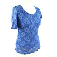 GRAY OSBOURN Top Floral Lace Short Sleeve Occasion UK 12 Blue Scallop Hem Party