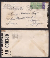 USA United States 1940 Censored Cover to Scotland