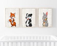 Bild Set Wald Tiere A4 Kunstdruck Fuchs Dachs Hase Kinderzimmer Deko Geschenk