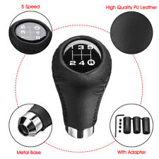 Universal Manual 5 Speed Car Gear Stick Shift Knob Shifter Lever Leather Black