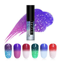 LILYCUTE Holographic Thermal Gel Polish Glitter Soak Off UV Gel Varnish Nail Art