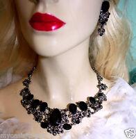 Rhinestone Choker Necklace Earring Set Austrian Crystal Bold Black Beautiful