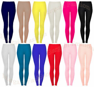 GIRLS ANKLE LENGTH STRETCH FIT VISCOSE ASSORTED COLOURS LEGGINGS 2-15 YEARS    C