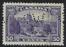 Perfin C46-CW/C (Canadian Westinghouse Co.): Scott 226, 50c BC Parliament Pos. 1