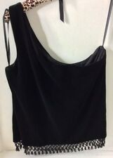 XSCAPE ONE SHOULDER BLACK VELVET TOP  BLOUSE WITH BEADS SIZE LARGE