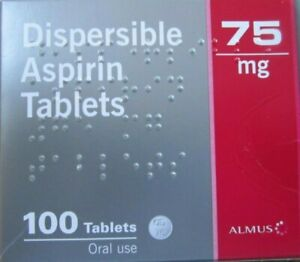"ASPIRIN 75mg  ""LOW DOSE"" DISPERSIBLE  ASPIRIN ONE BOX"