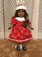 RED SAILOR DESS WITH HAT AND SHOES  FITS  AMERICAN GIRL DOLL  ADORABLE