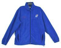 Columbia Mens Blue Fleece Zip Front Jacket Kansas Jayhawks Mock Neck Athletic XL