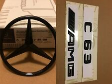 Mercedes C Class W205 Rear Boot Star+C63 AMG Badge Emblem Set - Gloss Black
