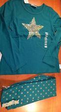 NEW Naartjie Green Glitter Star Top & Leggings Sz 8