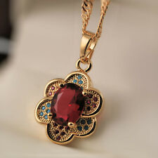 18ct Gold Filled Flower Red Garnet Turquoise Gems Pendant Necklace Chain UK N37
