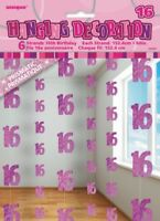 GLITZ PINK 6 HANGING DECORATIONS 16TH BIRTHDAY 1.5M/5' BIRTHDAY PARTY SUPPLIES