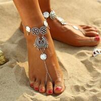 Womens Retro Boho Barefoot Sandal Beach Anklet Foot Chain Jewelry Ankle Bracelet