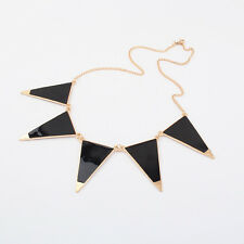 Black & Gold Tone Triangle Pointed Aztec Boho Chain / Necklace - NEW!!