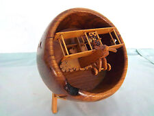 Airplane Aircraft Biplane Burl Wood Bowl Red Barron Pilot Machine Gun Wooden