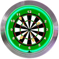 Darts Dart Board Neon Clock sign feathers Game room wall lamp Gameroom