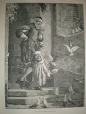 Pets C T Garland old print 1882 child with pigeons or doves